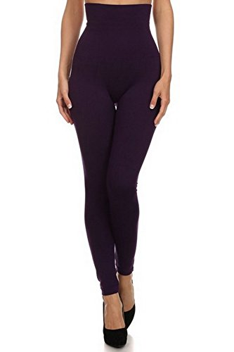 Belle Donne- Women's High Waist Compression non-Fleece / Stylish Leggings - Purple (Bella Footless Tights)
