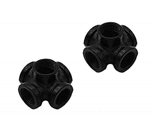 """GeilSpace 3/4"""" Black Malleable Iron Pipe Fittings - Vintage DIY Industrial Shelving, Industrial Decor, Furniture DIY (2-Pack 5-Way, Black)"""