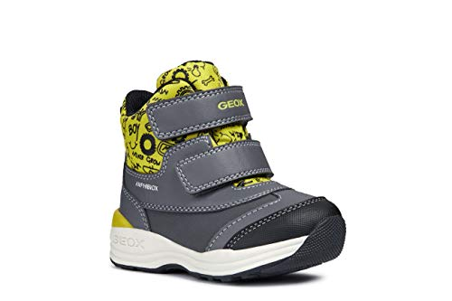 Geox Boys' NEWGULP 5 Waterproof Boots Dual Riptape, Grey/Lime, Snow, 25 M EU Toddler (8.5 US) (Geox Boots For Boys)