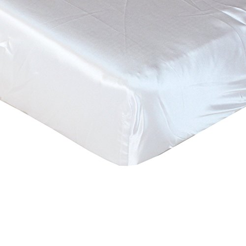 - White Cloud Satin Fitted Crib Sheet - Fits Standard Crib Mattresses and Daybeds