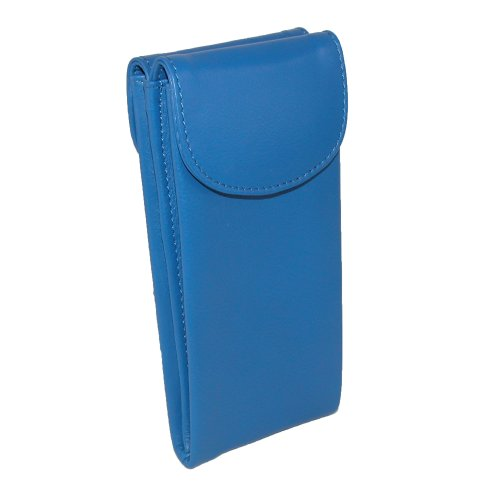CTM Women's Leather Double Eyeglass Holder Case, Cobalt - Blue Cobalt Eyeglasses