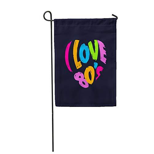 Semtomn Garden Flag Party I Love 80 Heart in Words Vintage Music 12