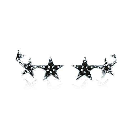 Fashion Stud Earrings for Women Boucle Glitter Stars 925 Sterling Silver Earring Pendientes Jewelry ()