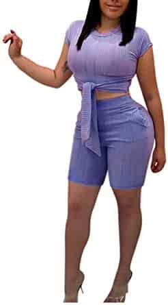 9ccb5ce101 Women Two Piece Outfit Bodycon Jumpsuit Romper Clubwear Short Sleeve Scoop  Neck Crop Top Short Pants
