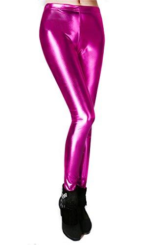 Diamond keep it Liquid Wet Look Shiny Metallic Stretch Leggings (XL, Light Pink)