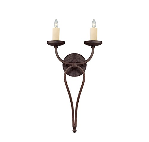 Wall Sconces 2 Light with Oiled Copper Finish Candelabra Bulbs 12 inch 120 ()