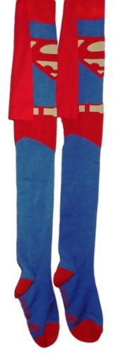 [DC Comics SUPERMAN Costume CAPED Over-The-Knee SOCKS] (Clark Kent Superman Costume Women)