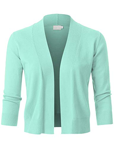 JSCEND Womens Classic 3/4 Sleeve Open Front Cropped Bolero Cardigan Mint S