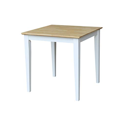 International Concepts Solid Wood Dining Table with Shaker Legs, White/Natural ()