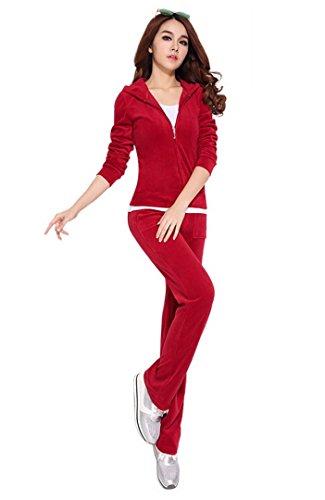 (Aivtalk Women'S Velour Hoodie+Pant Tracksuit Sport Sweat Suit Set - Red - M)