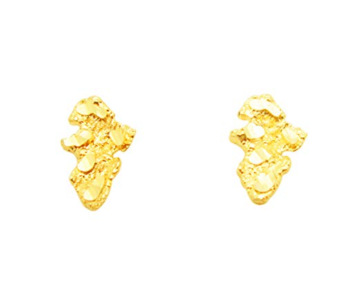 10k Yellow Gold Tiny Nugget Earrings