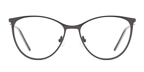 TIJN Edgy Cateye Metallic Non-prescription Eyeglasses Glasses - Prescription No Cheap Glasses