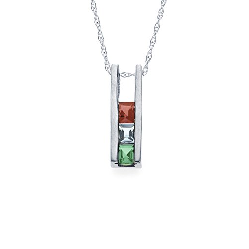 Mothers Simulated Birthstone Pendant Necklace with 18