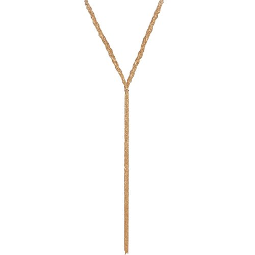 Braided Tassel Gold (Humble Chic Multistrand Braided Lariat Statement Necklace - Slim Chain Beaded Waterfall Bib Long Y-Chain, Gold-Tone Lariat, Yellow Goldtone)