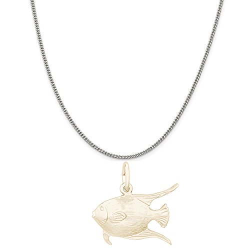 Angel Fish Necklace - Rembrandt Charms Two-Tone Sterling Silver Swimming Angelfish Charm on a Sterling Silver Curb Chain Necklace, 18
