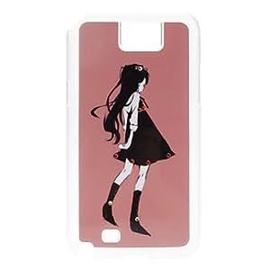 ZCL-Negro de tela de la muchacha Caso duro del patrón con el Rhinestone para Samsung Galaxy Note N7100 2