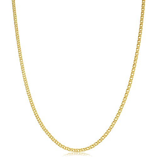 Kooljewelry 14k Yellow Gold Diamond Weave Chain Necklace (2 mm, 20 inch)