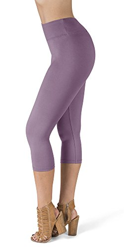 (SATINA High Waisted Super Soft Capri Leggings - 20 Colors - Reg & Plus Size (One Size, Lavender))
