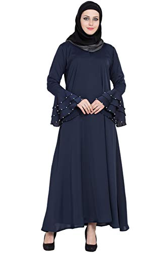 Nevy blue Colour NIDA Solid Abaya With matching Hijab