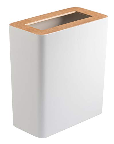 Red Co. Rectangular Modern Trash Can, Rubbish Bin Wastebasket Receptacle Garbage Container, for Office Home Bathroom, White, 11 -
