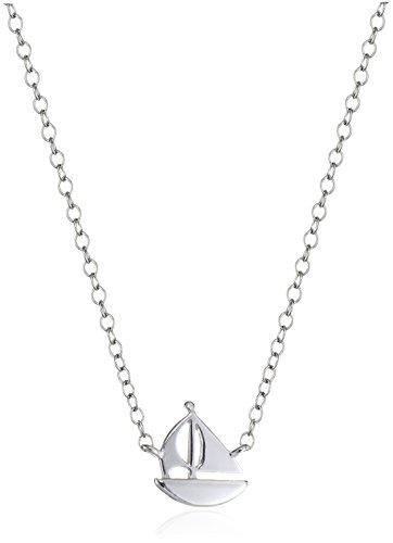 Sterling Silver Mini-Sailboat Pendant Necklace, 16