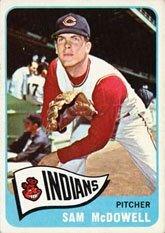 1965 Topps Regular (Baseball) Card# 76 sam mcdowell of the Cleveland Indians Ex Condition