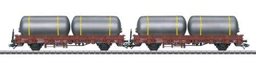 Type Kbs Stake Flatcar w/Brewery Tank Load 2-Pack - 3-Rail Ready to Run -- German Federal Railway (Era III 1965, Boxcar (1965 Railroad)