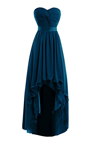 Women's Long Chiffon High Low Bridesmaid Prom Gown Cocktail Party Dress Indigo (Indigo Satin Bridesmaid Dress)