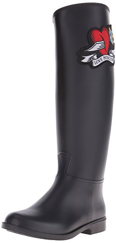 Love Moschino Women's Queen Of Hearts Rain Boot, Black, 36 EU/6 M US (Queen Of Hearts Shoes)