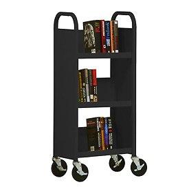 - Sandusky Lee SL33017-09 3 Single Sided Sloped-Shelf Book Truck, 18