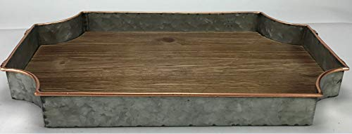 (Circleware 02978 Cooperstown Wooden Craftsman Rectangle Serving Tray with Handles Kitchen Multi-Purpose Serveware for Coffee Table, Dinner, Breakfast, Food, Farmhouse Decor 17.5