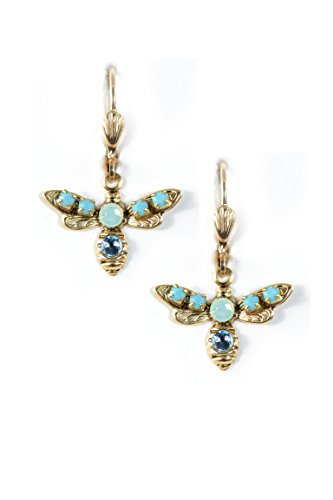 Clara Beau Beautiful Blue Turq Little Bee Swarovski crystal GoldTone Dangle Earrings (Homemade Insect Costumes)