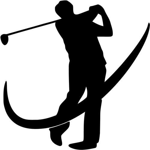 (Mandy Graphics Golf Golfer Golfing Swoosh Vinyl Die Cut Decal Sticker for Car Truck Motorcycle Windows Bumper Wall Home Office Decor Size- [8 inch/20 cm] Tall and Color- Gloss White)