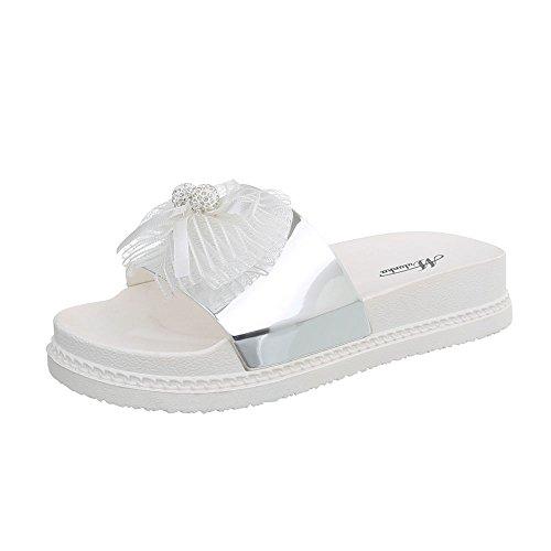 Chaussures design Plat Argent Mules Ital 51 Sandales Femme D HgwxOxqv