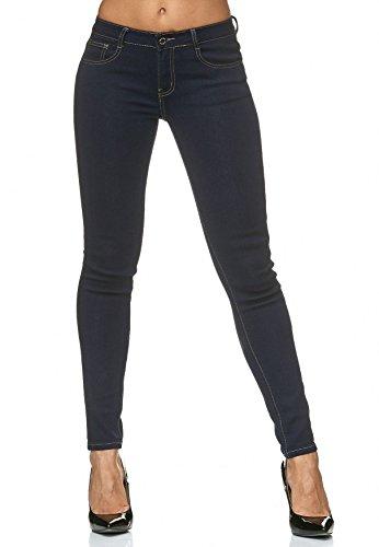 Pantalon D2225 Fonc Femmes Couture skinny Stretch Jeans Bleu Contraste OHZqwSnf