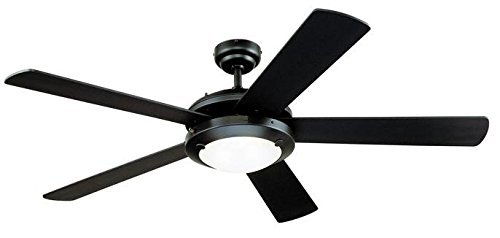 Blade Ceiling Fan Matte (Two-Light 52-Inch Reversible Five-Blade Indoor Ceiling Fan, Matte Black with Frosted Glass)