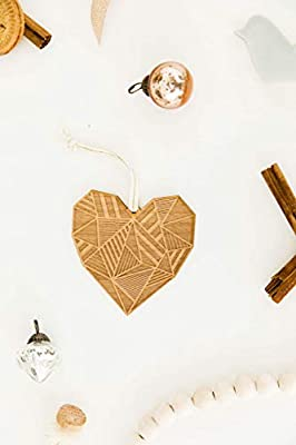 Patchwork Heart Laser Cut Wood Ornament (Christmas/Holiday / Love/Anniversary / Newlyweds/Keepsake)