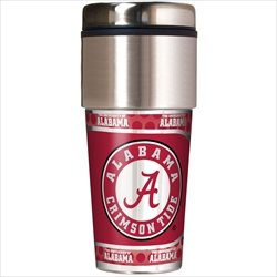 NCAA Alabama Crimson Tide 16 oz Travel Tumbler with Metallic Wrap