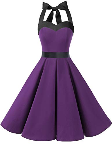 DRESSTELLS 50s Retro Halter Rockabilly Bridesmaid Audrey Dress Cocktail Dress Purple Black L