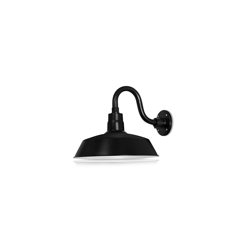 14in. Satin Black Outdoor Gooseneck Barn Light Fixture with 10in. Long Extension Arm - Wall Sconce Farmhouse, Vintage…
