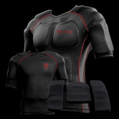 Titin 601-MD-EX3 Black and Red Force Weighted Shirt System, Medium