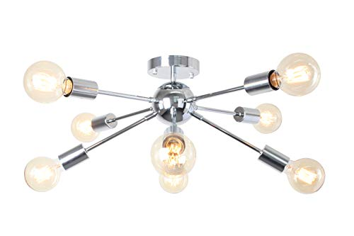 8-Light Sputnik Light Chrome Pendant Lights Modern Chandelier Lighting Kitchen Bathroom Dining Room Bed Room Hallway ()