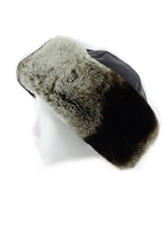 FUR WINTER Lady Genuine Leather Top Rex Rabbit Fur Cuff Roller Pill Box Hat CHC (Genuine Rabbit Fur Cuffs)