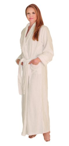 NDK New York Women's Chenille Full Length Cotton Robe, White, 2X-3X