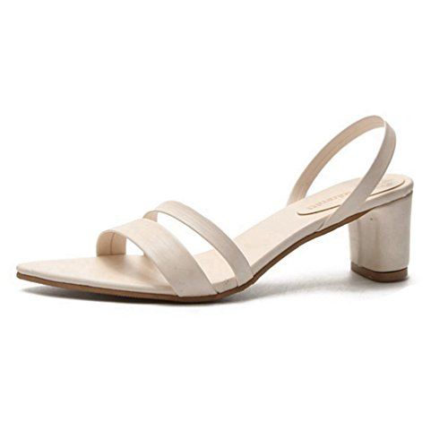 Sandales Strappy Sandales Talon Femmes Chunky Talons Hauts Toe Cuir Escarpins Open Blanc Robe tBwgqpP