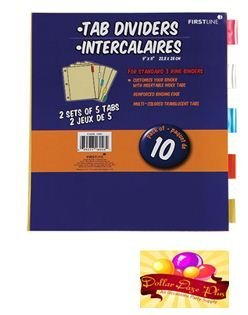 Dollar Daze Plus School Supplies First line Color Tab Dividers, 10-ct in Each Pack Of 2