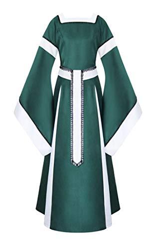 (VenaSha Womens Gothic Victorian Medieval Dress Renaissance Square Neck Gown (Green,)