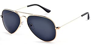 Aoron Unisex Classic Polarized Aviator Sunglasses with Black Lens Gold Metal Frame