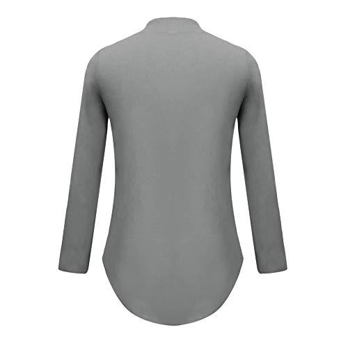 Croix Col T Tops Manches en Gris Chemise Longues Shirt V Mode Chemisier Femmes Couleur DEELIN Occasionnels Sexy Unie Lache WBCRa