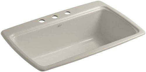 (Kohler K-5863-3-G9 Cape Dory Self-Rimming Kitchen Sink with Three-Hole Faucet Drilling, Sandbar)